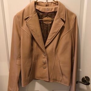 Wilson's Leather Tan/Cream genuine leather jacketM